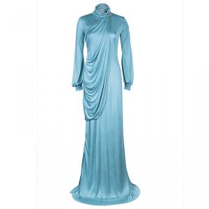 Roberto Cavalli Ice Blue Jersey Draped Gown L