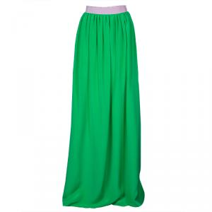 Roksanda Ilincic Neon Green and Pink Paneled Maxi Skirt M