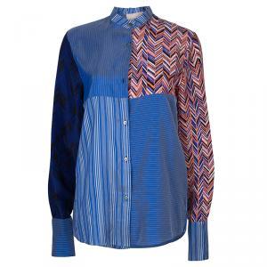 Roksanda Ilincic Blue Striped Silk Top S
