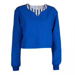 Roksanda Ilincic Blue Oversized Long Sleeve Crop Top L