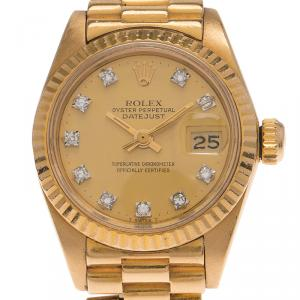 Rolex Champagne 18K Yellow Gold Datejust Women's Wristwatch 26MM