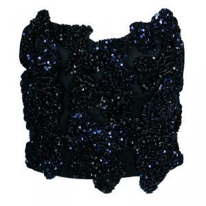 Saint Laurent Paris Blue Sequin Strapless Crop Top M