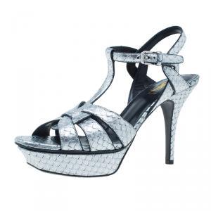 Saint Laurent Paris Silver Python Stamped Tribute Platform Sandals Size 39