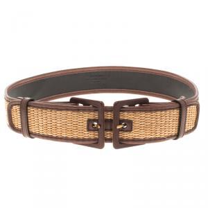 Saint Laurent Paris Brown Leather and Raffia Adjustable Belt 85 CM