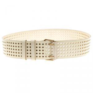 Saint Laurent Paris Ivory Perforated Leather Wait Belt 95 CM