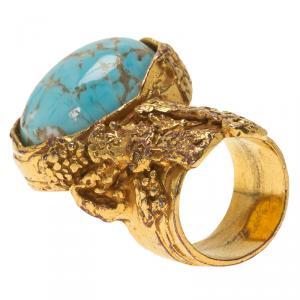 Saint Laurent Paris Arty Turquoise Color Gold Tone Ring Size 54.5