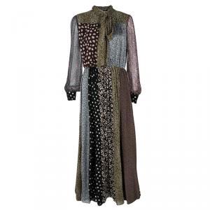 فستان ماكسي سان لوران باريس بوهيم حرير مطبوع متعدد الألوان بحزام M