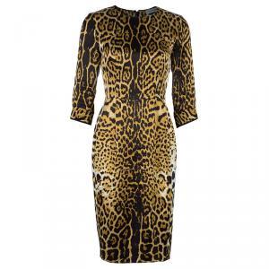 فستان سان لوران نقوش جلد النمر حرير M