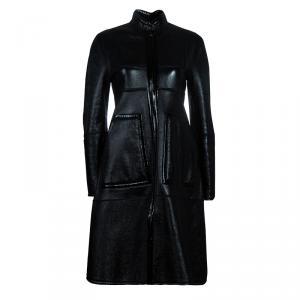 Saint Laurent Paris Black Leather & Shearling Reversible Coat S