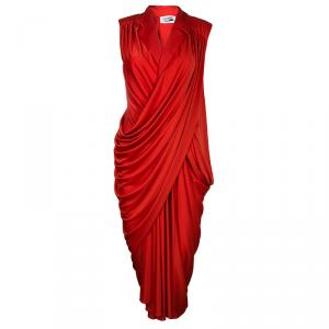 Saint Laurent Paris Red Lapel Detail Draped Sleeveless Dress S