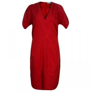 فستان سان لوران باريس أحمر بأكمام قصيرة L