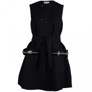 Saint Laurent Black Wool Sleeveless Belted Coat S