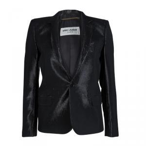 Saint Laurent Paris Shiny Black Lurex Blazer S