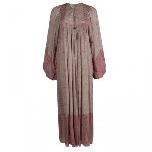 فستان سان لوران باريس كم طويل نقوش أزهار بيج ماكسي M