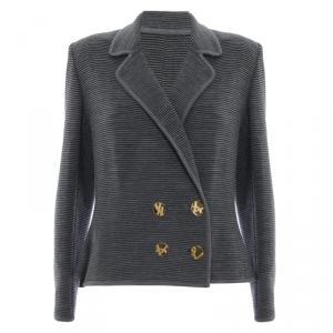 Saint Laurent Paris Grey Striped Blazer M