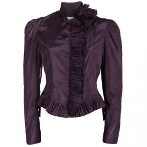 Saint Laurent Paris Purple Silk Plisse Ruffle Detail Zip Front Jacket M