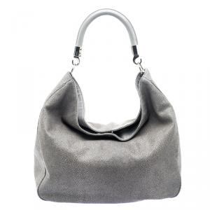 Saint Laurent Paris Grey Stingray Embossed Leather Roady Hobo