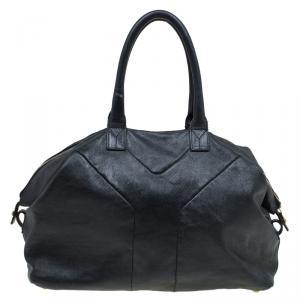 Saint Laurent Paris Black Glazed Leather Medium Easy Y Bag