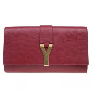 Saint Laurent Paris Red Leather Large CHYC Clutch
