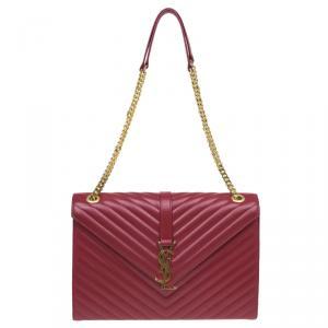 Saint Laurent Paris Red Leather Chevron Flap Shoulder Bag