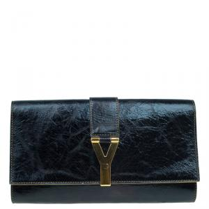 Saint Laurent Paris Black Distressed Leather Classic Y-Line Clutch