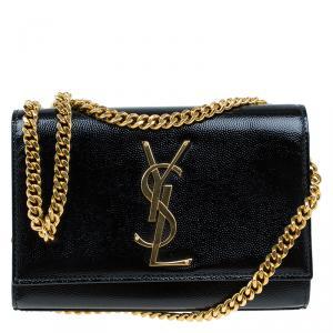صغير حقيبة كتف سان لوران باريس سلسلة  جلد دو باودر حُبيبي أسود