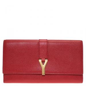 Saint Laurent Paris Red Leather Y Line Continental Wallet