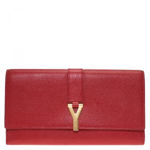محفظة كونتننتال سان لوران باريس Y لاين جلد أحمر