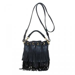 Saint Laurent Paris Black Leather Small Emmanuelle Fringed Bucket Bag