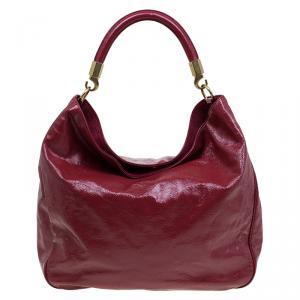 Saint Laurent Paris Burgundy Patent Leather Roady Hobo