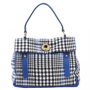 Saint Laurent Paris Houndstooth Wool/Leather Large Muse Two Top Handle Bag