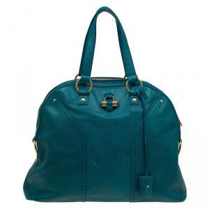 حقيبة يد سان لوران باريس موس متوسطة جلد بين خضراء