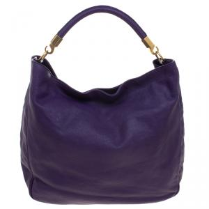 Saint Laurent Paris Purple Leather Roady Hobo