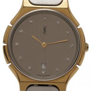 Saint Laurent Paris Grey Gold-Plated Stainless Steel Classic Women's Wristwatch 30MM