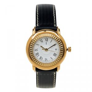 Saint Laurent Paris White Gold-Plated Stainless Steel Classic Women's Wristwatch 29MM