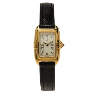 Saint Laurent Paris White Gold-Plated Stainless Steel Classic Women's Wristwatch 18MM