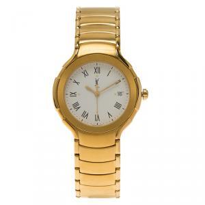 Saint Laurent Paris White Gold-Plated Stainless Steel Classic Unisex Wristwatch 36MM