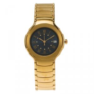 Saint Laurent Paris Blue Gold-Plated Stainless Steel Classic Unisex Wristwatch 36MM