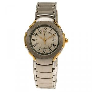 Saint Laurent Paris Silver Gold-Plated Stainless Steel Classic Women's Wristwatch 28MM