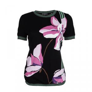 Salvatore Ferragamo Black Cotton Floral Printed Contrast Trim Short Sleeve Top S