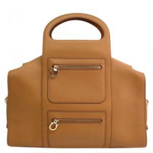 Salvatore Ferragamo Brown Leather Bowling Bag