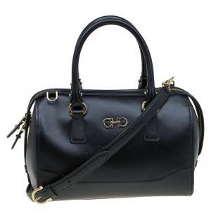 Salvatore Ferragamo Black Leather Bowling Bag