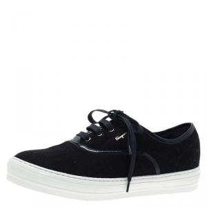 Salvatore Ferragamo Blue Felt Sneakers Size 39.5