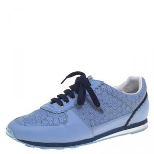 Salvatore Ferragamo Powder Blue Perforated Leather Melina Sneakers Size 39.5