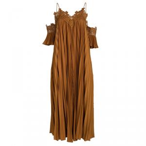 Self Portrait Camel Brown Plisse Lace Trim Cold Shoulder Maxi Dress M