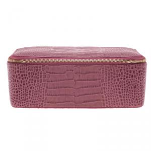 Smythson Pink Python Embossed Leather Mara Jewelry Pouch