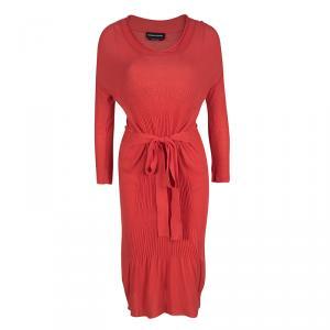 Sonia Rykiel Red Knit Waist Tie Detail Long Sleeve Midi Dress S