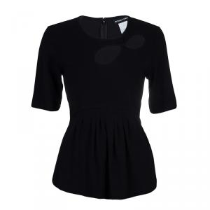 Sonia Rykiel Black Cutout Detail Pleated Short Sleeve Top L