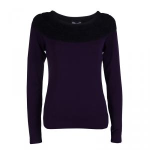 Sonia Rykiel Purple and Black Sweater M