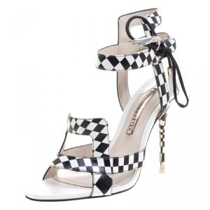 Sophia Webster Monochrome Checkered Leather Poppy  Ankle Wrap Sandals Size 39
